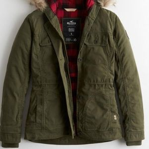 Hollister stretch flannel lined twill jacket